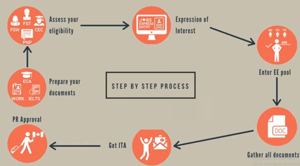 step-by-step process in applying for the express entry program