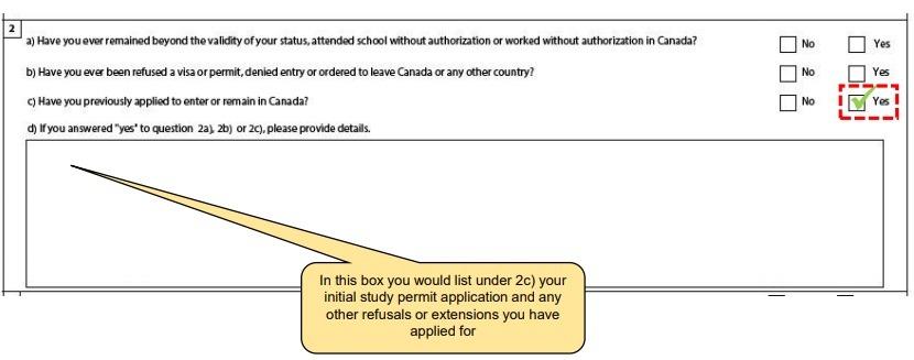 Previous study permit details