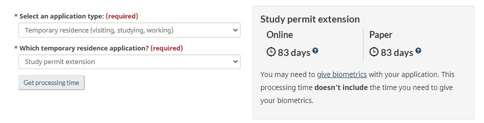 study permit extension processing time