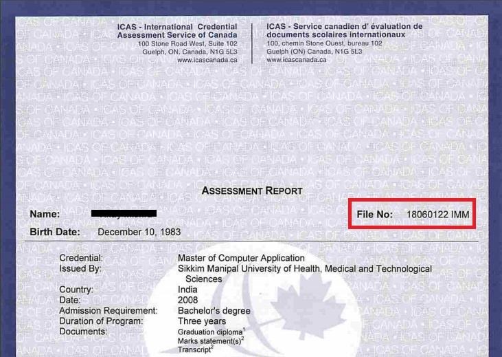 icas eca certificate number report sample