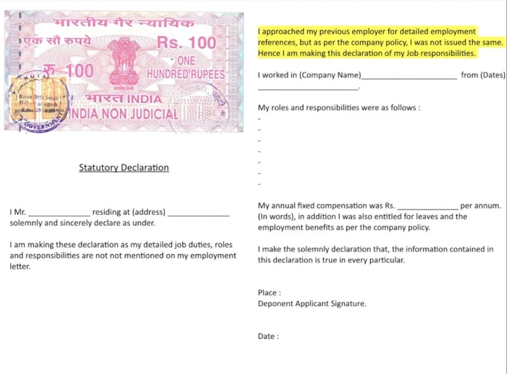 sample Affidavit for reference letter