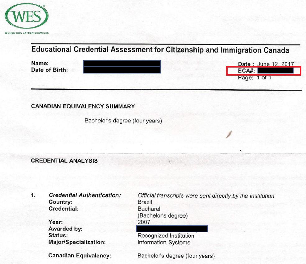 wes eca sample report