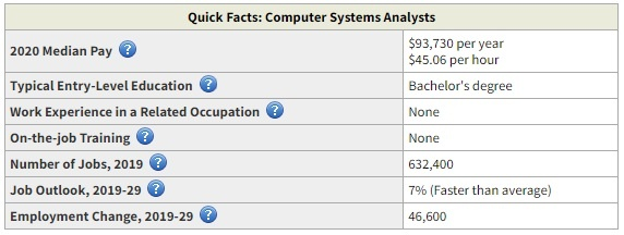 computer analyst job business degree